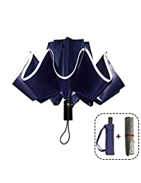 VIAV Windproof Travel Umbrella Inverted Automatic Compact Umbrellas with Safe Reflective Tape - Sturdy 10 Ribs, Blue