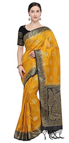 Mustard Saree - Rajnandini Women's Silk Kanjivaram Zari Weaving Work Rich Pallu Saree(JOPLNS2019D_Mustard_Free Size)