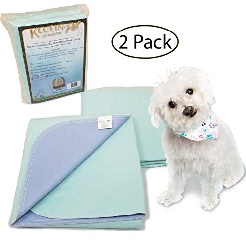 Kluein Pet Washable Pee Pads for Dogs & Puppies 2 Pack XL 34 x 36 inch Waterproof Reusable Wee Wee Pads; Puppy Playpen; Potty Training, Whelping; Dog Crate; Housebreaking