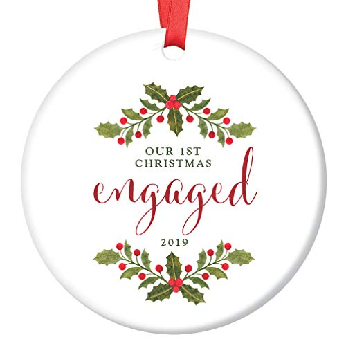 First Christmas Engaged Ornament 2019 Ceramic Collectible Gift Idea 1st Holiday Engagement Present for Future Bride & Groom Marriage 3