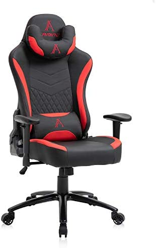 AJS Gaming Chair, High Back Adjustable Ergonomic Office Chair, Racing Leather Computer Desk Chair with Reclining Backrest and Lumbar Support (Red)