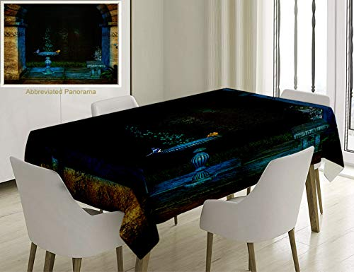 Unique Custom Cotton And Linen Blend Tablecloth Gothic House Decor Forest Landscape From Ancient Archway Birds On Fountain Fairytale Illustration BlueTablecovers For Rectangle Tables, 78 x 54 -