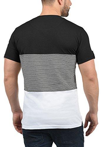 solid Marek 9000 Cuello Para Camiseta Básica Manga Con Hombre Grandad Black Corta De Rayas rg1FCqxwr