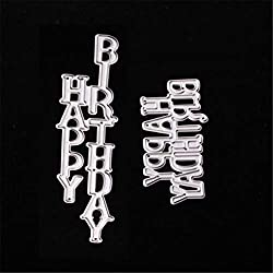 Mvchif Cutting Dies Metal Stencils Scrapbooking Tool DIY Craft Carbon Steel Embossing Template for Paper Card Making (Happy Birthday)