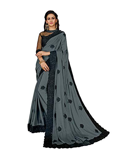 MANOHARI Women's Grey Georgette Embroidered Saree with Blouse