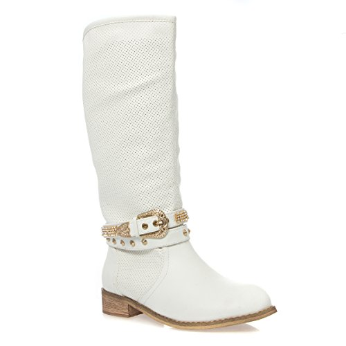 V-Luxury Womens 18-SAMANTHA08 Closed Toe Low Heel Knee High Cowboy Boots, White PU Leather, 5.5 B (M) US