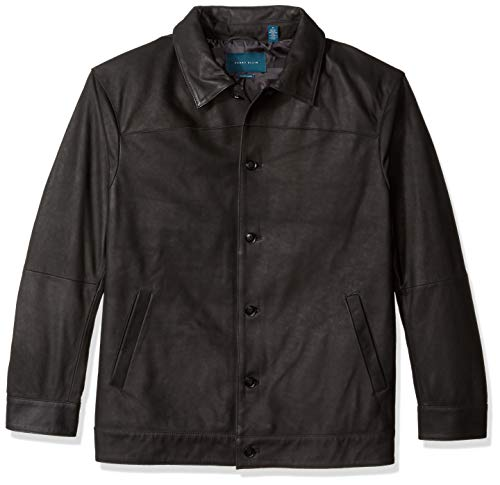 Perry Ellis Men's Big and Tall Leather Button Front Jacket, Black/DFR 4X ()