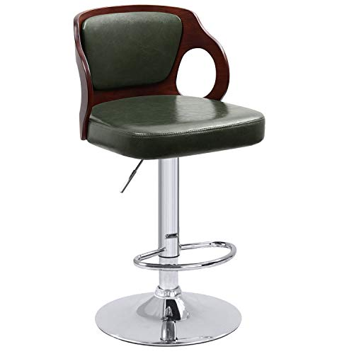 Homall Bar Stools Walnut Bentwood Adjustable Height Leather Modern Barstools with Back Vinyl Seat Extremely Comfy Bar Stool 1 Piece (Green) ()