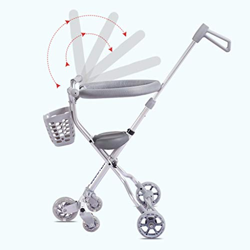 Baby Four-Wheeled Shatter-Resistant Lightweight Folding Children's Trolley Trend Adventure Travel System Range Aviation Aluminum Silver 6.3. (Color : Silver, Size : B) by Bbjinpin (Image #5)