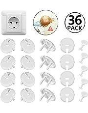 36pcs (30 caches prises + 6 clés) Caches Prises pour Enfant Sécurité avec Caches Prises Électrique à Mécanisme Tournant pour Prises Normalisées 2 Trous, Blanc