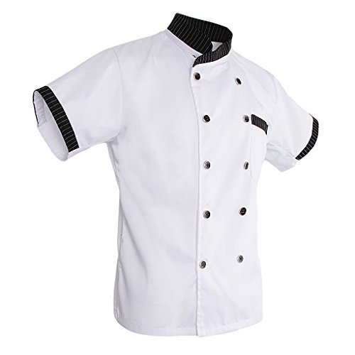 Amazon.com: Prettyia Unisex Adults Chef Jacket Stripe Short ...