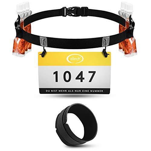 elinch Set van 2 startnummerriemen & chipband – loopgordel voor heren en dames – triathlon, marathon, loop…