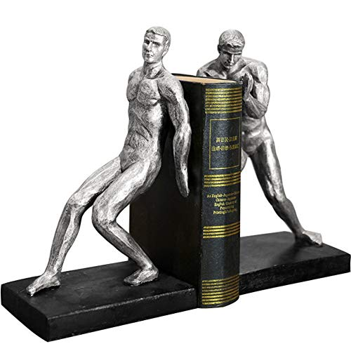 - A.B Crew 1 Pair Unique Resin Made Lifting Man Bookend Home Decor Sculpture(Bookend)