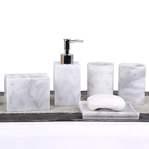 5pcs Bathroom Accessory Set - Tumbler, Soap Dish, Liquid Soap Dispenser, Toothbrush Holder,Grey by LUANT