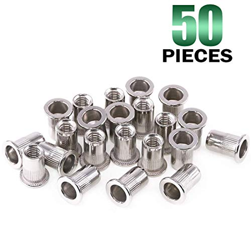Keadic 50Pcs 304 Stainless Steel Metric Rivet Nut Flat Head Threaded Insert Nutsert Kit - M6
