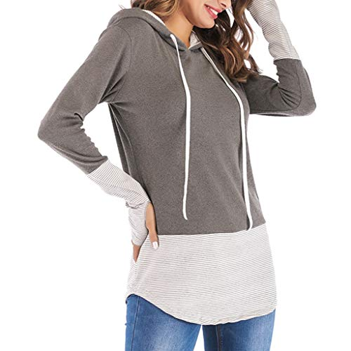 POQOQ Tunic Blouse Women Long Sleeve V-Neck Patchwork Pullover T-Shirt Autumn Tops(Gray,XXL) ()