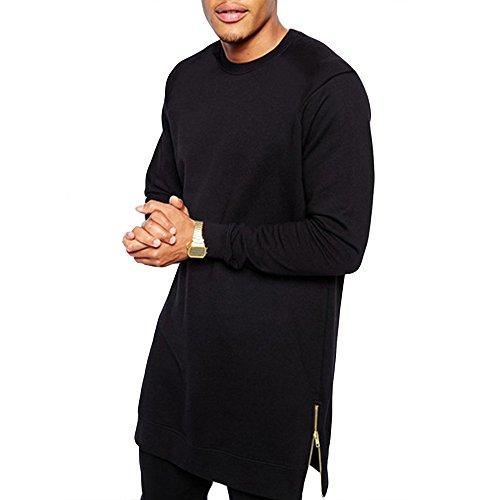 YANWENFANG Men Rap Street Dance Long Sleeve Hip Hop T-Shirts Long Longline Zipper Tops by YANWENFANG