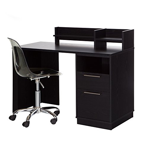 South Shore Academic Oak Desk with Clear Office Chair, Black