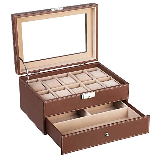 SONGMICS Brown Watch Box Faux Leather Jewelry Case Watch Display Oraganizer Glass Top Lockable - Box Brown Watch Leather