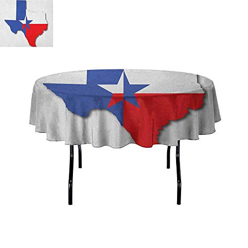 DouglasHill Texas Star Leakproof Polyester Tablecloth Outline of The Texas Map American Southwest Austin Houston City Outdoor and Indoor use D35 Inch Vermilion White Violet Blue]()