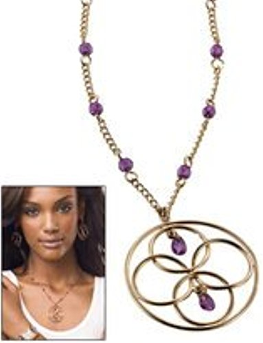 (Goldtone Pendant Necklace with Lavender Bead Accents By Avon)