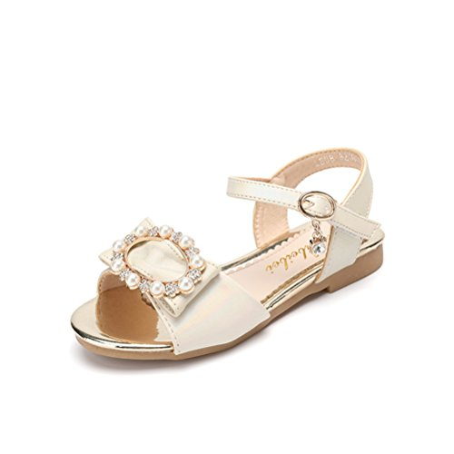 Always Pretty Little Girls Open Toe Summer Sandals(Toddler/Little Kid/Big Kid) Ivory 4 M US Big Kid - Ivory Dress Sandals