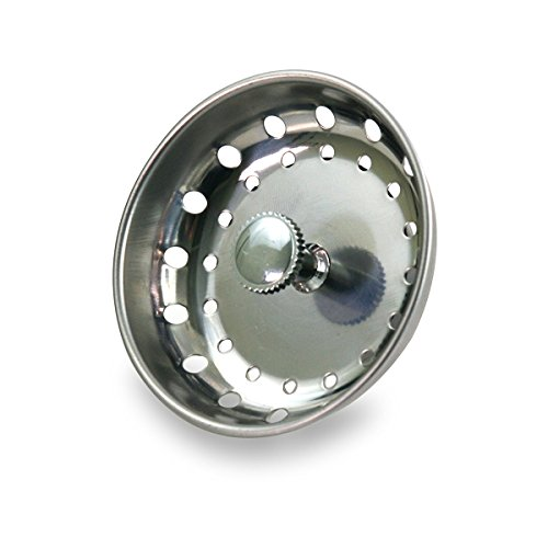 Install Basket Strainer - EverFlow 75111 Kitchen Sink Basket Strainer Replacement for Standard Drains (3-1/2 Inch) Chrome Plated Stainless Steel Body With Rubber Stopper