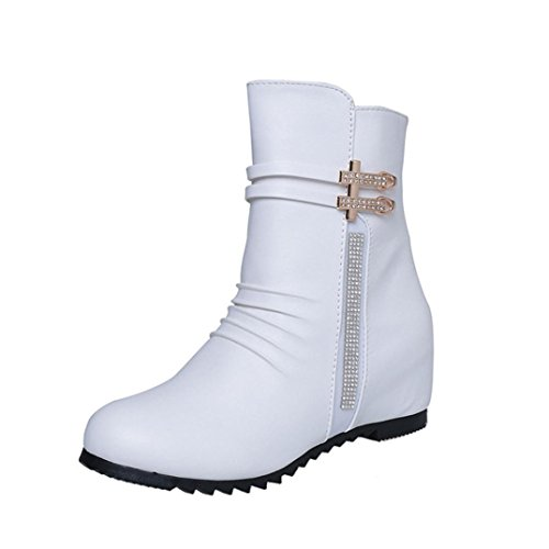 Elevin(TM) Women Fashion Sexy Zippers Boot Lady's Ankle Boots Comfortable Leather Boots (9US, White)