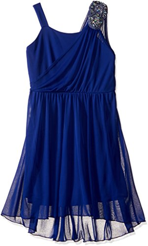 Amy Byer Big Girls' Sleeveless Grecian Dress with Stone Trim, Cobalt, 7
