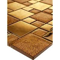 Bador 11 Matten 1m² Glasmosaik Mosaik Fliesen Mosaikfliesen Glasfliesen Glas Gold 30x30