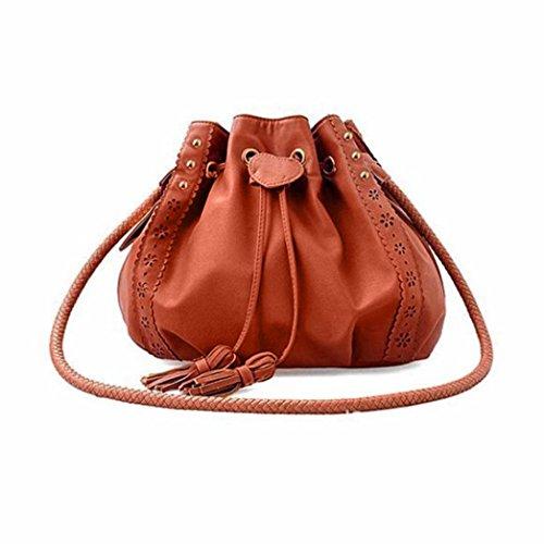 Sikye Lady Handbag Shoulder Bag Leather Women Cross Body Satchel Versipacks (Brown)