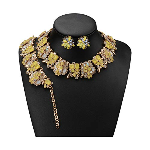 Holylove 7 Colors Crystal Vintage Statement Necklace Bracelet Earrings (Yellow-8041BE Yellow Set)