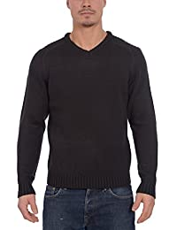 Kensington Men's Casual V-Neck Long Sleeve Knit Pullover Sweater with Rib Detail