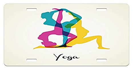 Amazon.com: Ambesonne Yoga License Plate, Different Yoga ...