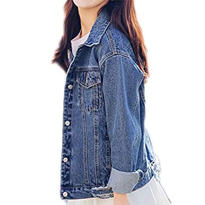 Saukiee Oversized Denim Jacket Distressed Boyfriend Jean Coat Jeans Trucker Jacket for Women Girls: Clothing