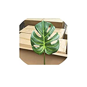 Artificial Plants 10Pcs Real Touch Plastic Artificial Small Palm Tree Leaves Coating Monstera Leaf Fake Plants for Home Garden Wedding Decoration,Total Height 63Cm,Green 116