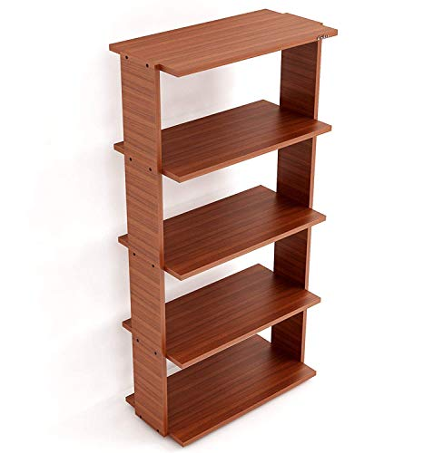 Anikaa Amore Wooden Book Shelves/Display Rack for Wall/Wall Shelf for Study and Living Room  Walnut, 5 Shelves