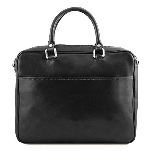 Tuscany Leather Pisa Notebook-Aktentasche aus Leder mit Vorderfach - TL141660 (Schwarz) Schwarz L0B9LFDF