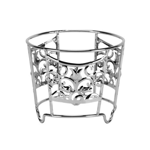 Tiger Chef 16 Oz Chrome High Polished Silver Decorative Ornate Deli Container Holders, Fits 8 Ounce & 16 Ounce Round Deli Take Out Containers ()
