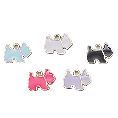 (JETEHO 20pcs Enamel Dog Charms Dog Beads Pendant for Jewelry Making Bracelets DIY 14mm x10mm )