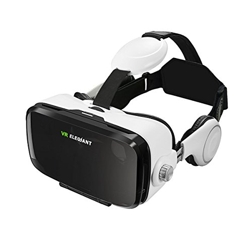 """VR Headset, ELEGIANT 3D VR Glasses, Virtual Reality Headset Built-in Headphone, Compatible with iPhone 6 / 6s /6 Plus/5s/5 Samsung S7/S6 and Other 4.0""""-6.0"""" Smartphones ¡"""
