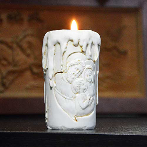 (MUROER Catholicism Christ Holy Family Candlestick in Shape of A Candle Crafts Jesus Statue Gifts for Wedding Party)