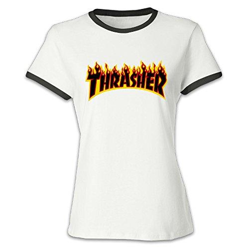 Liying Women's Thrasher Magazine Flame Logo Short Sleeve T Shirt XXL -