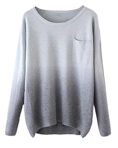Urban CoCo Women's Fashion Gradient Ramp Pullover Sweater - Womens Coco Sweater