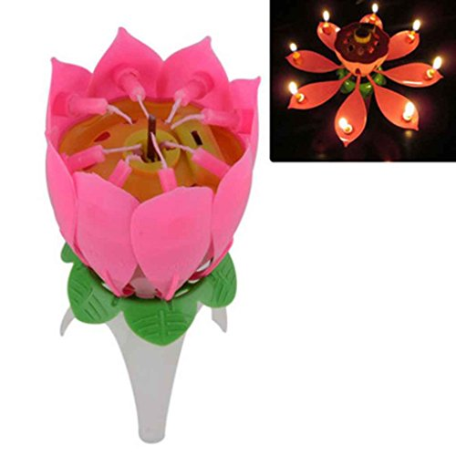 Xuanhemen Lotus Candles Single Layer Non Rotating Lotus Flower Music Candle Birthday Party Cake Daily Supplies