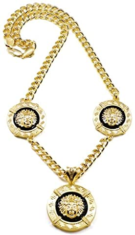 GWOOD Medusa Necklace Gold/ Black Color Pendants With 29 1/2 Inch Cuban Link 10mm Chain (Chief Keef Pendant)