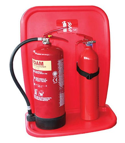 Jonesco Jfp10 Double Fire Extinguisher Stand With Back Red