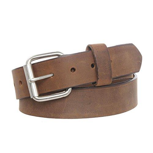 Men's Rugged Full Grain Leather Belt, Snap Off Buckle - Aged Bark 40