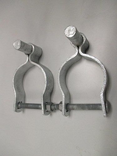 Pressed Steel Chain Link Fence Post Hinge w/Bolt - (2 Sets Pack) (Galvanized Chain Link)