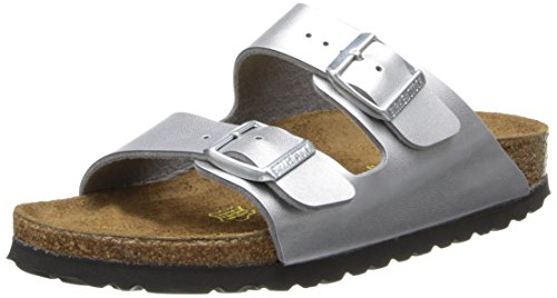 Birkenstock Unisex Arizona Silver Sandals - 40 N EU/9-9.5 2A(N) US Women/7-7.5 2A(N) US - Silver Warehouse